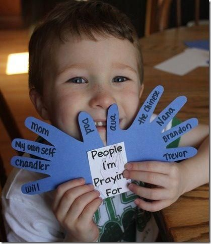 Hand print craft: trace hands and list people to pray for (lesson on prayer).  Could also list people or things you are thankful for (Thanksgiving), or list ways we can help others (lesson on obeying God or Good Samaritan story).