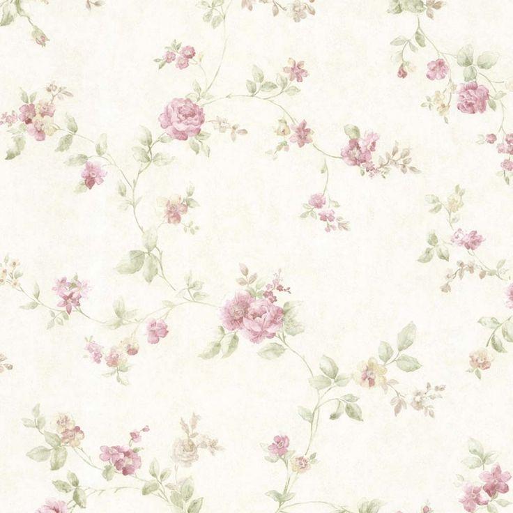 Vintage Rose englische Landhaus Satintapeten langer Rosen Ast Art.-Nr.: 68332