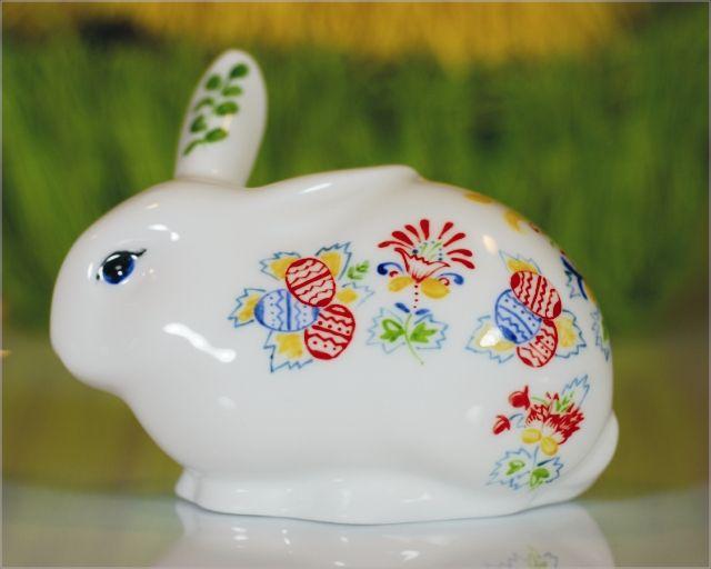 Porcelanowy Królik świętokrzyski ręcznie malowany Easter rabbit No.3 (hand-painted)