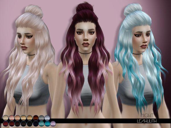 Night hair by LeahLilith at TSR via Sims 4 Updates