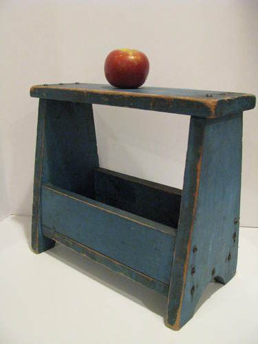 blue bench. with the apple as reference, guess the measurements.