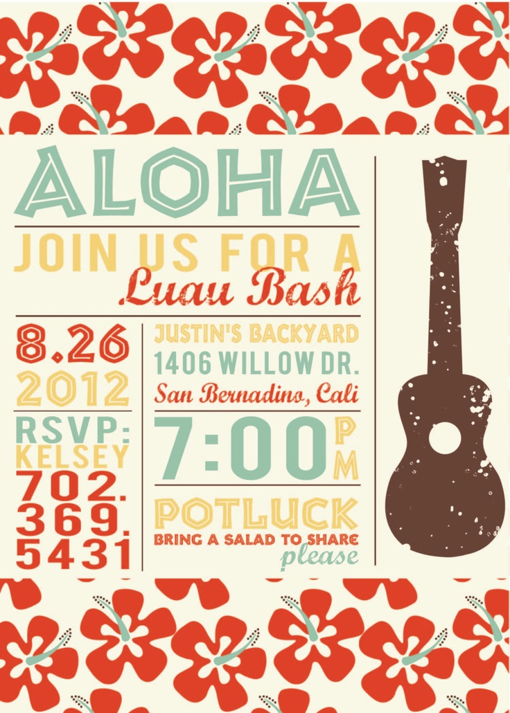 Vintage Hawaiian Luau Invitations - would be cute and easy to duplicate on the computer