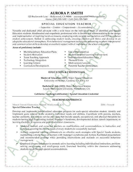 Special Education Teacher Resume Sample Classroom  Teacher