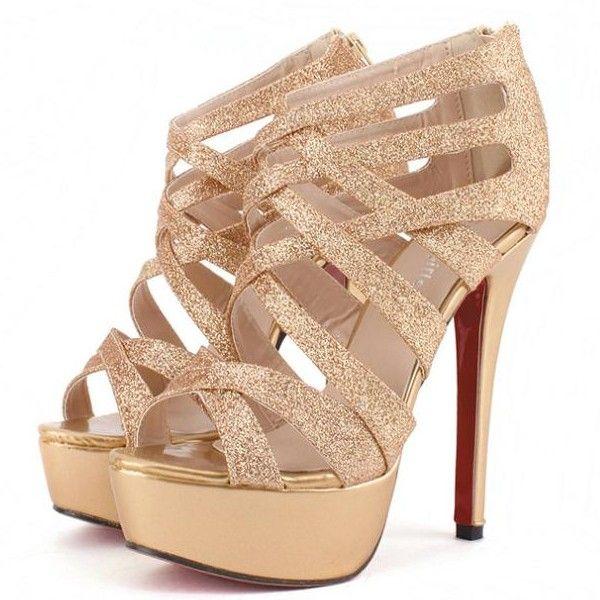 High Heel Cross Strap Gold Sandals