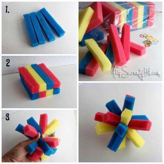 sponges & hair-ties for water bombs • Atop Serenity Hill