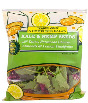 A Complete Salad: Kale & Hemp Seeds with Dates, Parmesan Cheese, Almonds & Lemon Vinaigrette $3.99