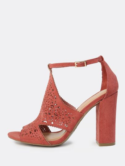 Peep Toe Shield Cutout Heels DARK MAUVE