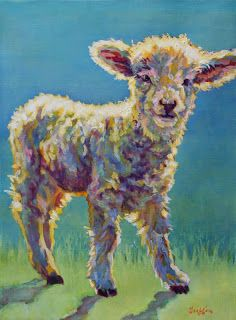 "Daily Painters Abstract Gallery: Colorful Contemporary Lamb Art Painting Farm Animal ""Mia"" by Contemporary Animal Artist Patricia A. Griffin"