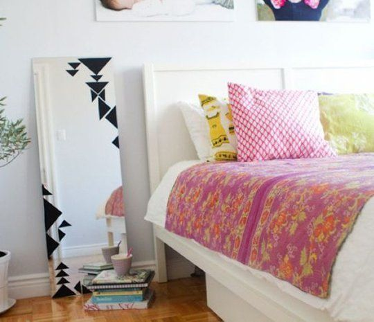 Decorating with Contact Paper - contact paper mirror design! So beautiful.