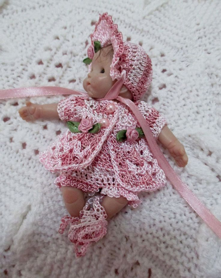 PRETTY CROCHET DOLL OUTFIT 5  CLAY SCULPT REBORN OOAK 4 PIECE