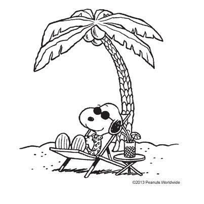 snoopy under a palm tree.