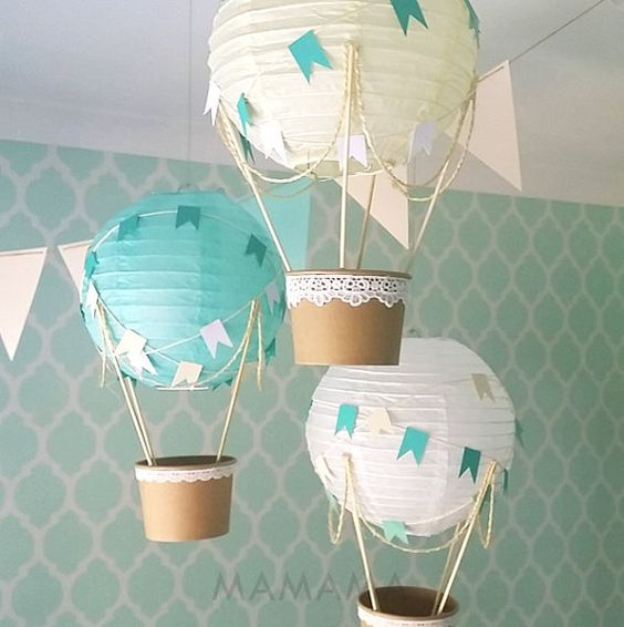 Wunderliche Heißluftballon Dekoration DIY Kit MINT, Kinderzimmer Dekor, Baby-Dusche-Dekor, Baby Boy, Travel Theme Nursery – Set von 3