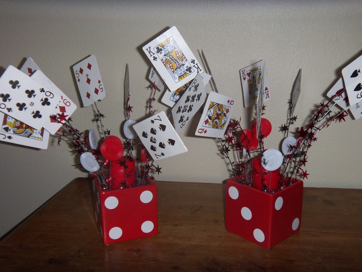 i made these for my upcoming casino party as centerpieces they are made of cards - Casino Party Decorations