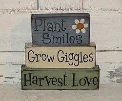 Plant Smiles Grow Giggles Harvest Love Primitive Wood Stacking Blocks