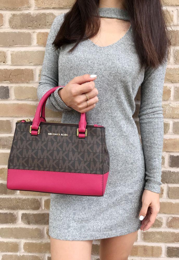 2a30ed7df5f8d4 Michael Kors Kellen XS Satchel Brown MK Signature Lipstick Pink Crossbody  Bag #MichaelKors #Satchel