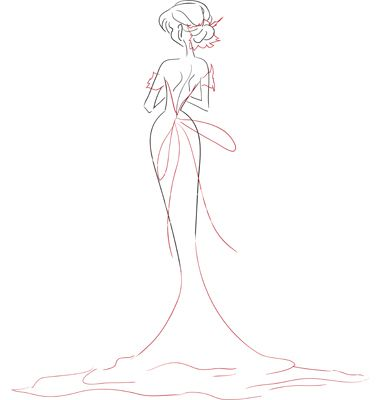 Bride in dress with long train vector 1765339 - by ElenaNaum on VectorStock®