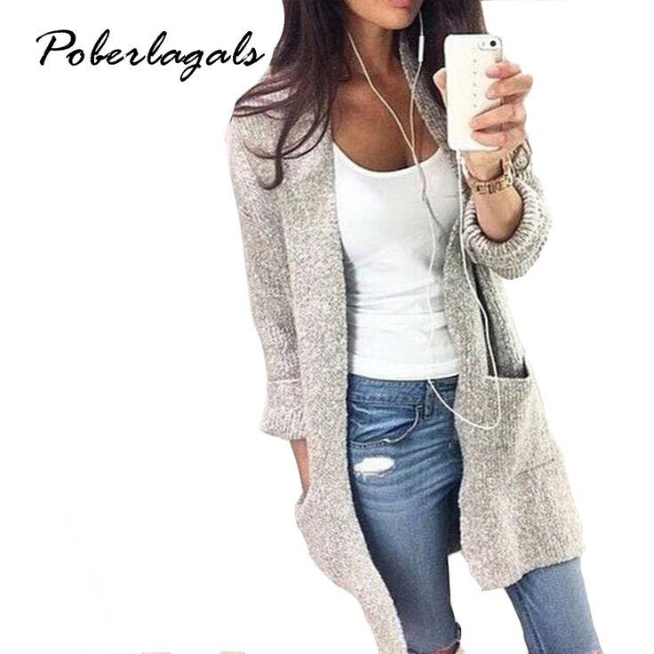 2016 Automne Hiver Mode Femmes À Manches Longues lâche tricot cardigan cardigan chandail Femmes Tricoté Femelle Cardigan pull femme