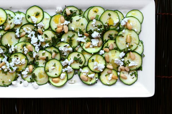 Zucchini Carpaccio with Feta and Pine Nuts -- Start your next summer meal with a vegetarian version of carpaccio: Young Zucchini, Salad, Pine Nuts, Food, Zucchini Carpaccio, Made