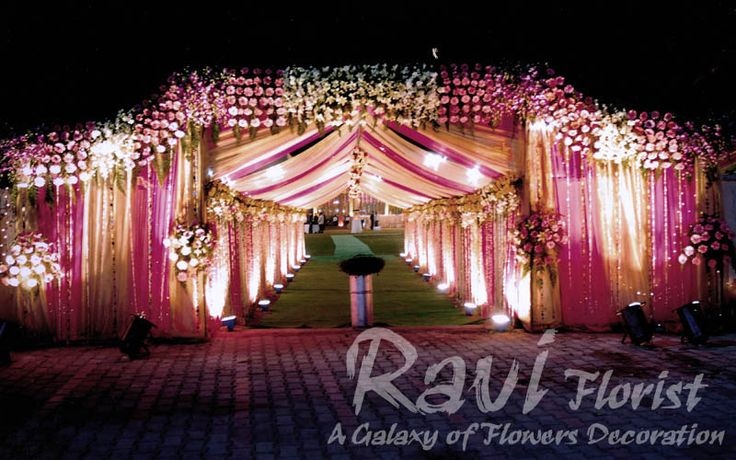 motorcycle gate with lighting & flowers on entrance only