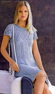 Вязаное платье спицами схемы и описание