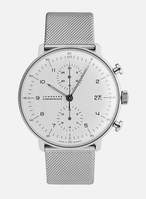 A minimalist's timepiece- nice clean clear smart white with chrome chain wrist.