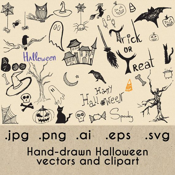 Halloween Clipart, Vector Halloween, Halloween svg eps ai png, Silhouette, Instant Download, Clipart, Vector, hand drawn, spooky, Bundle