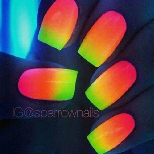 Neon nails! The cool part is they glow in the dark! !!!!!!!!!