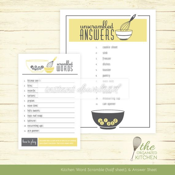 Bridal Shower Word Scramble Kitchen Theme Wisk And
