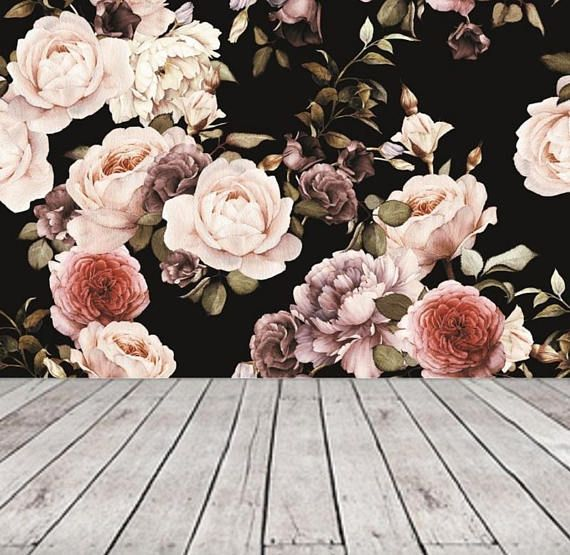 Dark Floral Wallpaper Mural, Peel and Stick Wallpaper Floral Mural Removable Peony Wall Paper Removable, Large Floral Wallpaper Vintage #85