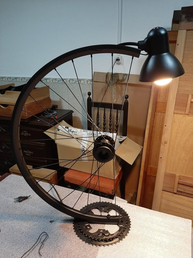 Bicycle Wheel And Parts Recycled Into Steampunk Bike Lamp In 2020