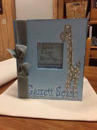 Live, Laugh...Giraffe Baby Memory Book | Light Blue and Gray Baby Keepsake Book by CarolynAltmanArt on Etsy