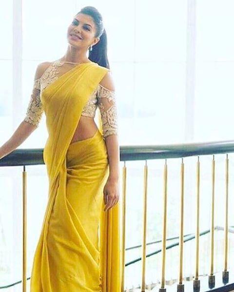 """97.9k Likes, 404 Comments - Manish Malhotra (@manishmalhotra05) on Instagram: """"#gorgeous @jacquelinef143 #stuns in #Yellow #TheColour of this Season #Saree #manishmalhotralabel…"""""""