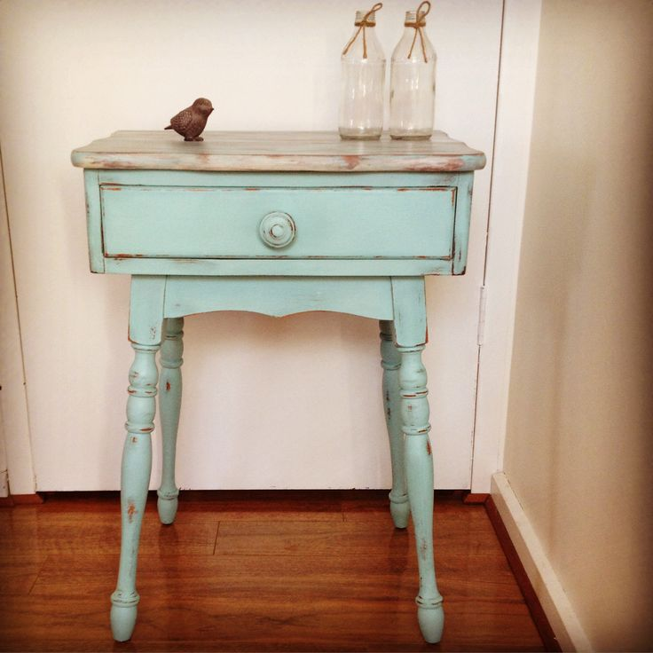 Gorgeous little aqua side table with driftwood look top. This vintage piece was revived by Speckled Home. South Australia.
