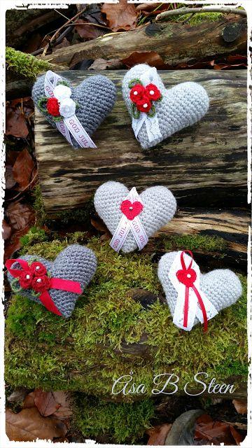Steen i stugan: Virkade julhjärtan