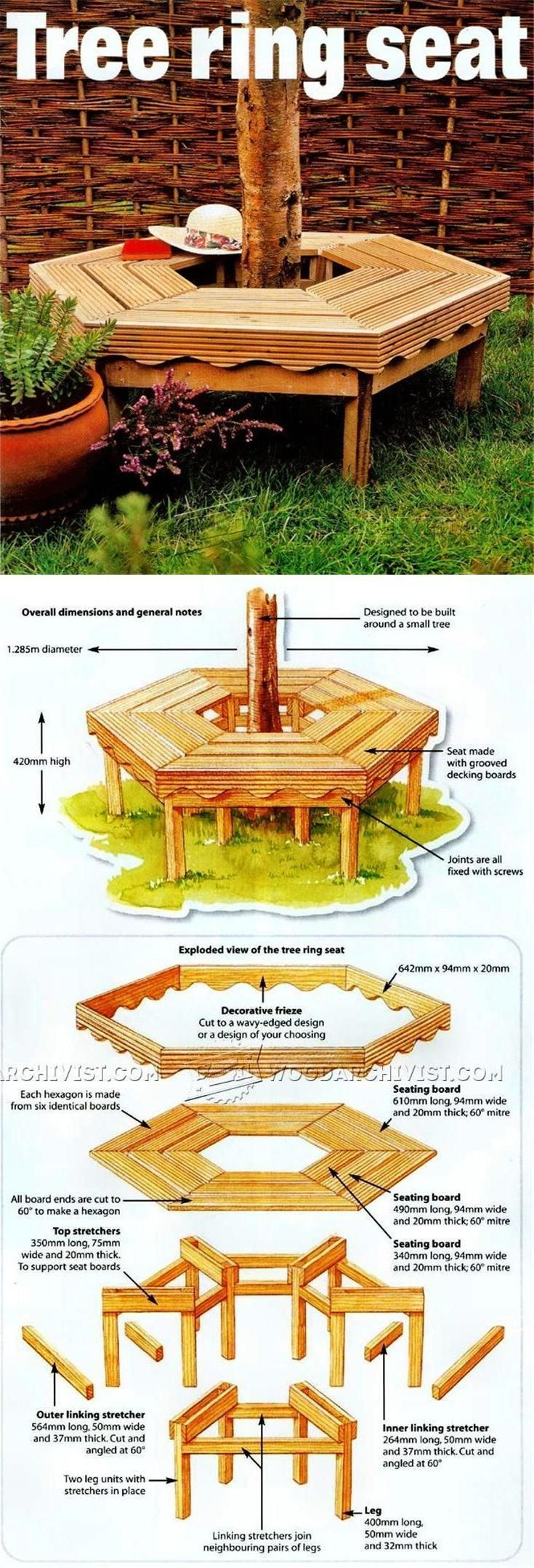 Tree Bench Plans - Outdoor Furniture Plans & Projects | http://WoodArchivist.com