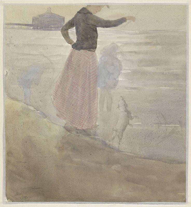 Vrouw met twee kinderen en een hondje aan het strand, Johan Antonie de Jonge, 1874 - 1927
