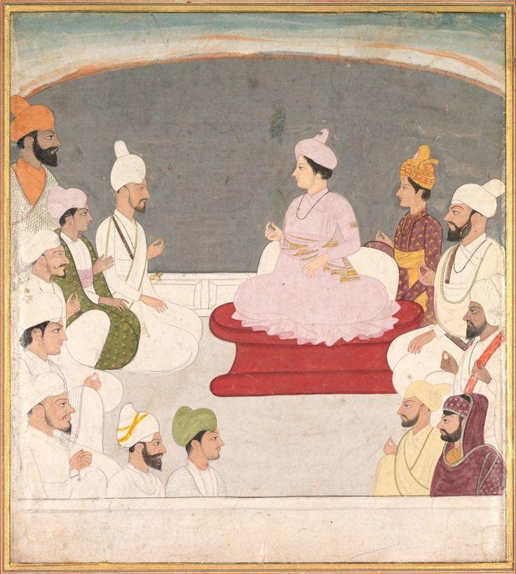 Raja Sansar Chand of Kangra and Courtiers, c. 1783 India, Pahari Hills, Kangra school, 18th century | Cleveland Museum of Art