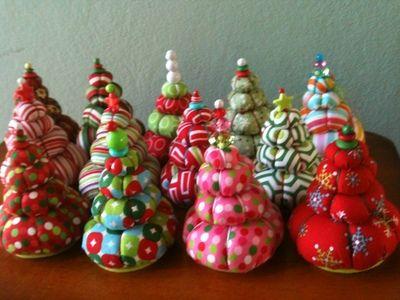 Christmas tree pin cushions