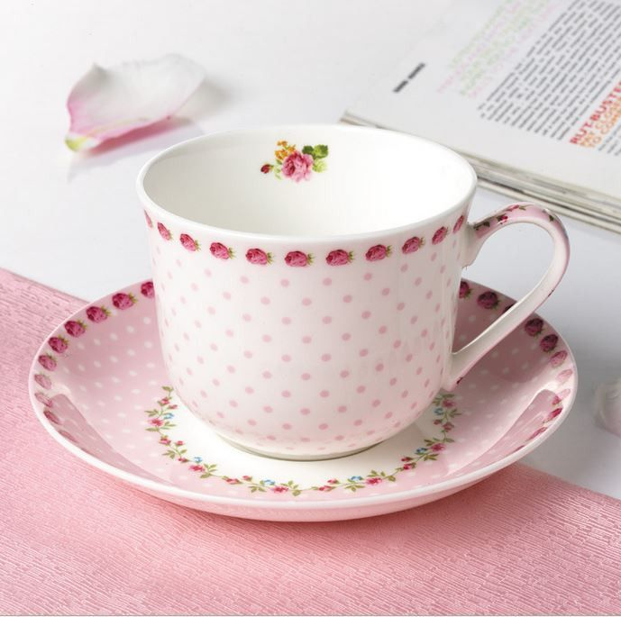 Cute Floral Pink Tea Cup & Saucer Set | At the top, Happy