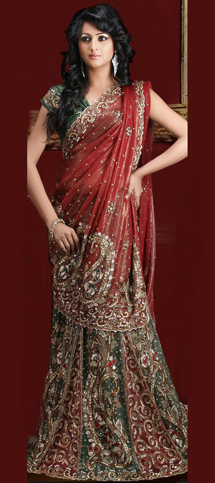 Superb designs,elegant lehenga style saree....Check it out .....Buy now at-> http://www.indianweddingsaree.com/product/62084.html