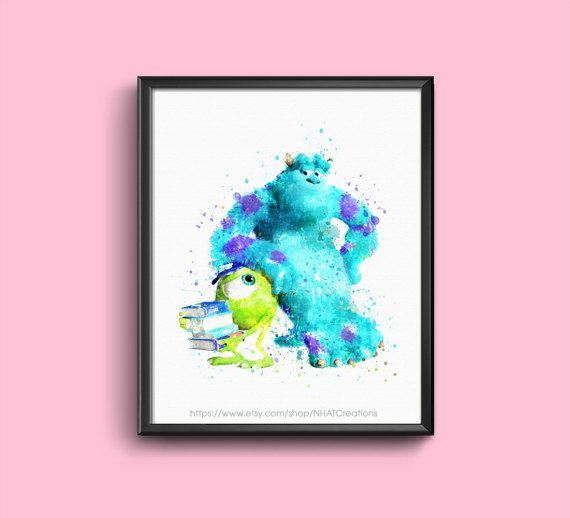 Sale off Fan art monster university Mike and Sulley watercolor
