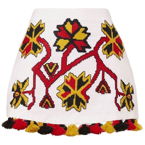 March11 Women's Pom-Pom Hem Embroidered Mini Skirt ($390) ❤ liked on Polyvore featuring skirts, mini skirts, white, mini skirt, embroidered skirt, short skirts, embellished mini skirt and white embroidered skirt