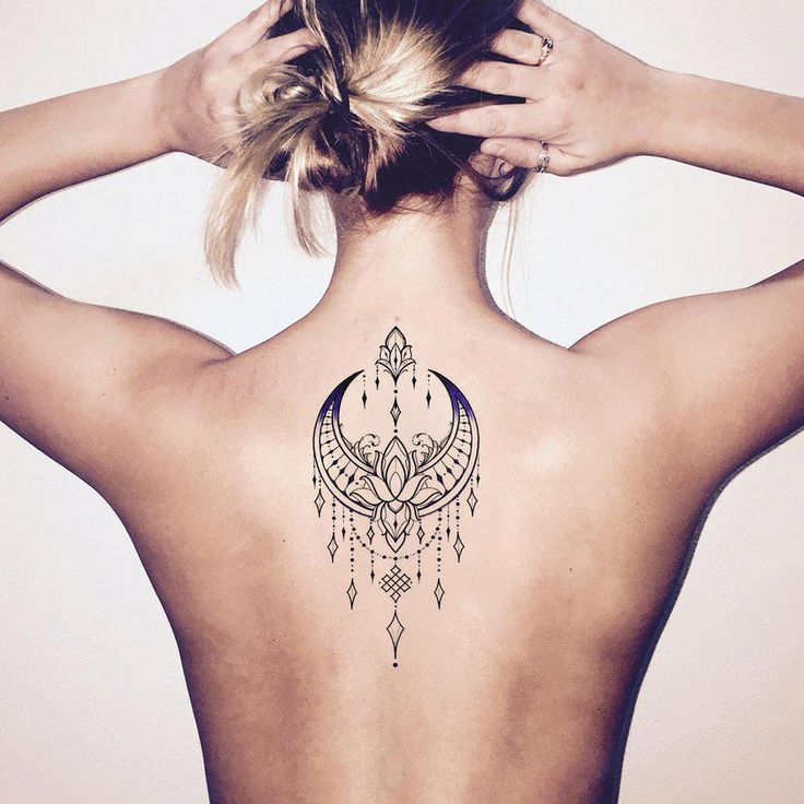 Henna Tattoo Back Spine: Talia Tribal Boho Moon Lotus Chandelier Temporary Tattoo