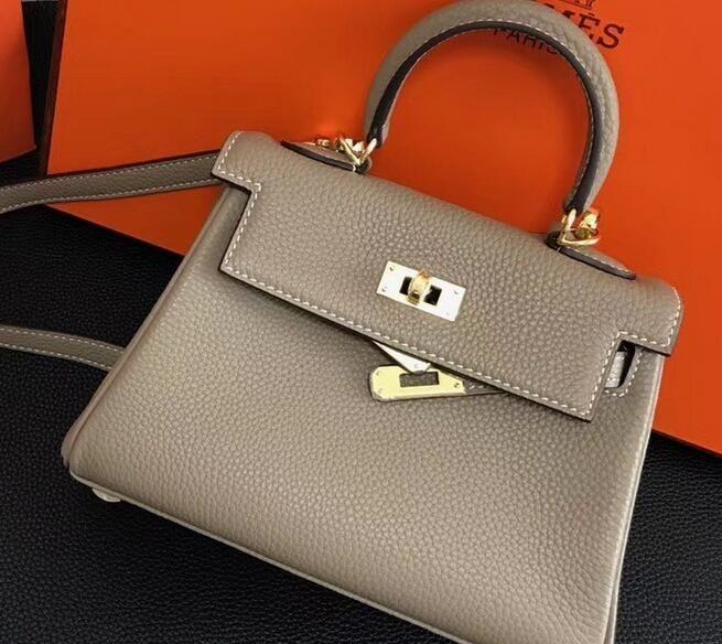 11484c118038 2018 Hermes Clemence Leather Kelly 20cm Mini Bag GREY