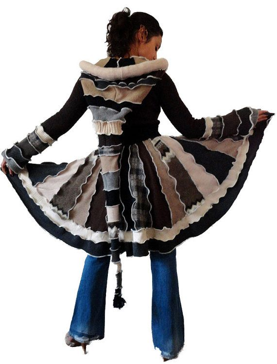 """Elf Coat """"Snow-Covered Trees"""" Upcycled Patchwork Fairy Sweater Coat with Medieval Hood"""