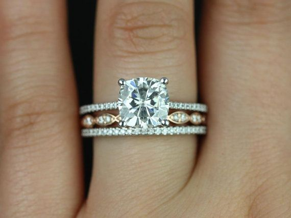Marcelle & Christie 14kt Rose/White Gold Cushion FB Moissanite and Diamonds TRIO Wedding Set (Other metals and stone options available)