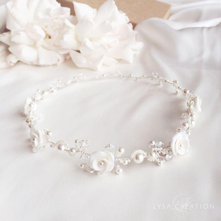 White bridal headband for Nicole