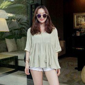 Gmarket - UPTOWNHOLIC Loose fit blouse / shirred front / tasse...