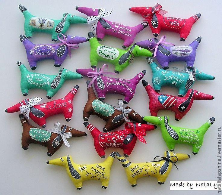 """Купить Магнит из хлопка """"Таксы ароматные"""" - такса, собака, игрушка, магнит, цветной, ароматный, лаванда"""