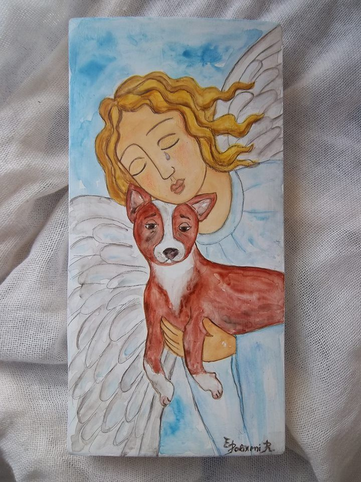 """Polixeni R """"My Angel saving this friend""""  This is hand painted Angel on Timber block 10 cm x 22.5 cm."""
